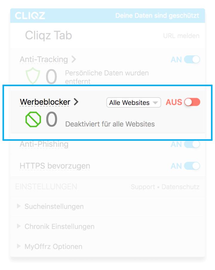 Hier kannst du den Cliqz Werbeblocker ein- und ausschalten.