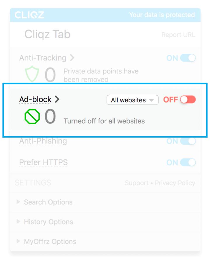 Turn on Cliqz Ad-Blocker