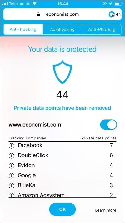 Cliqz Anti-Tracking iPhone