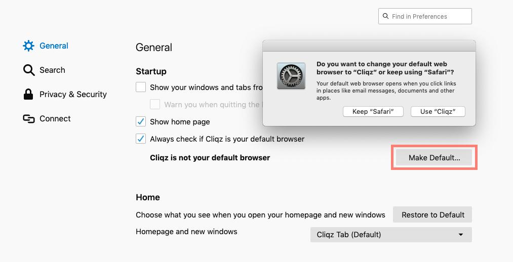 Cliqz default browser on Mac preferences