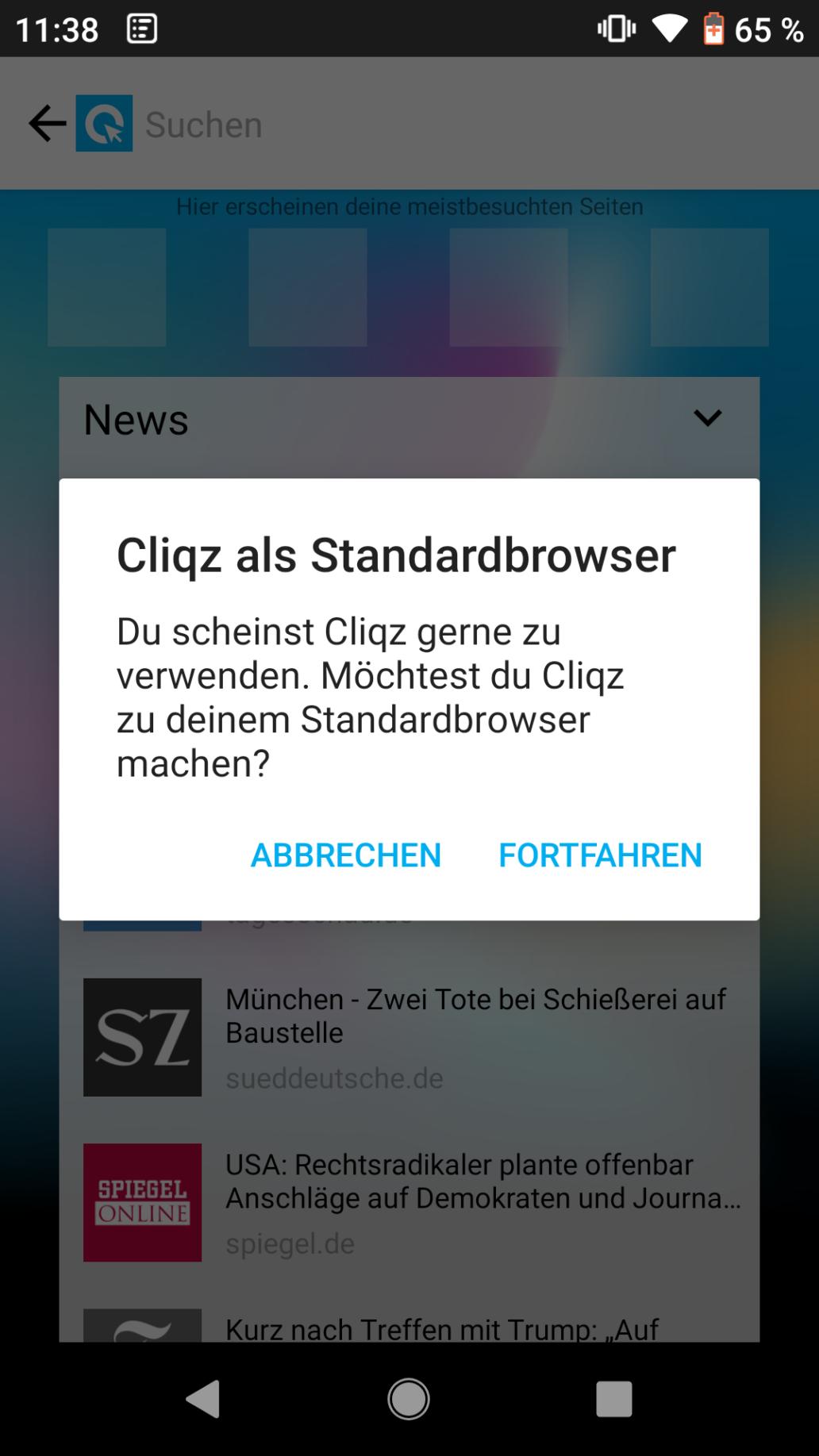 Cliqz als Standardbrowser