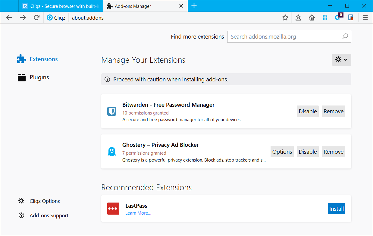 The number of permissions granted is displayed under the respective add-on name in the Add-ons Manager.