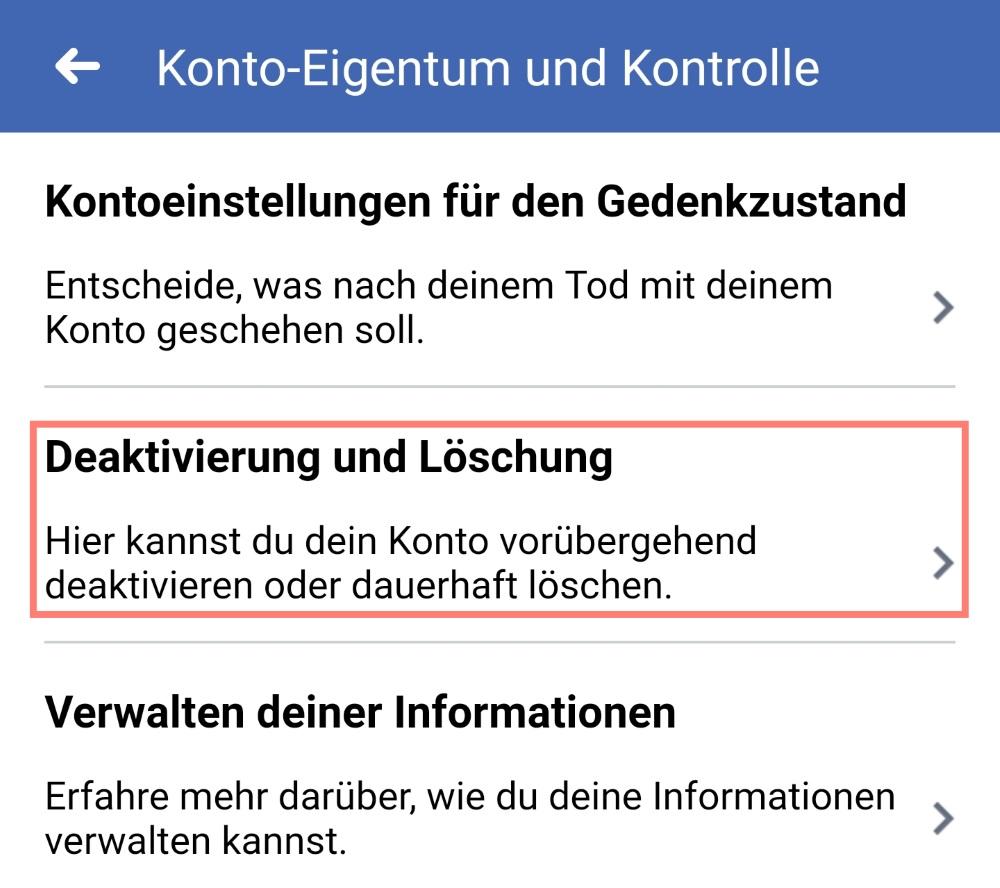 Facebook Deaktivierung und Löschung