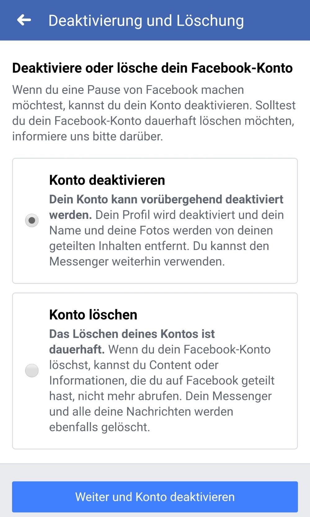 Facebook-Konto deaktivieren Auswahl