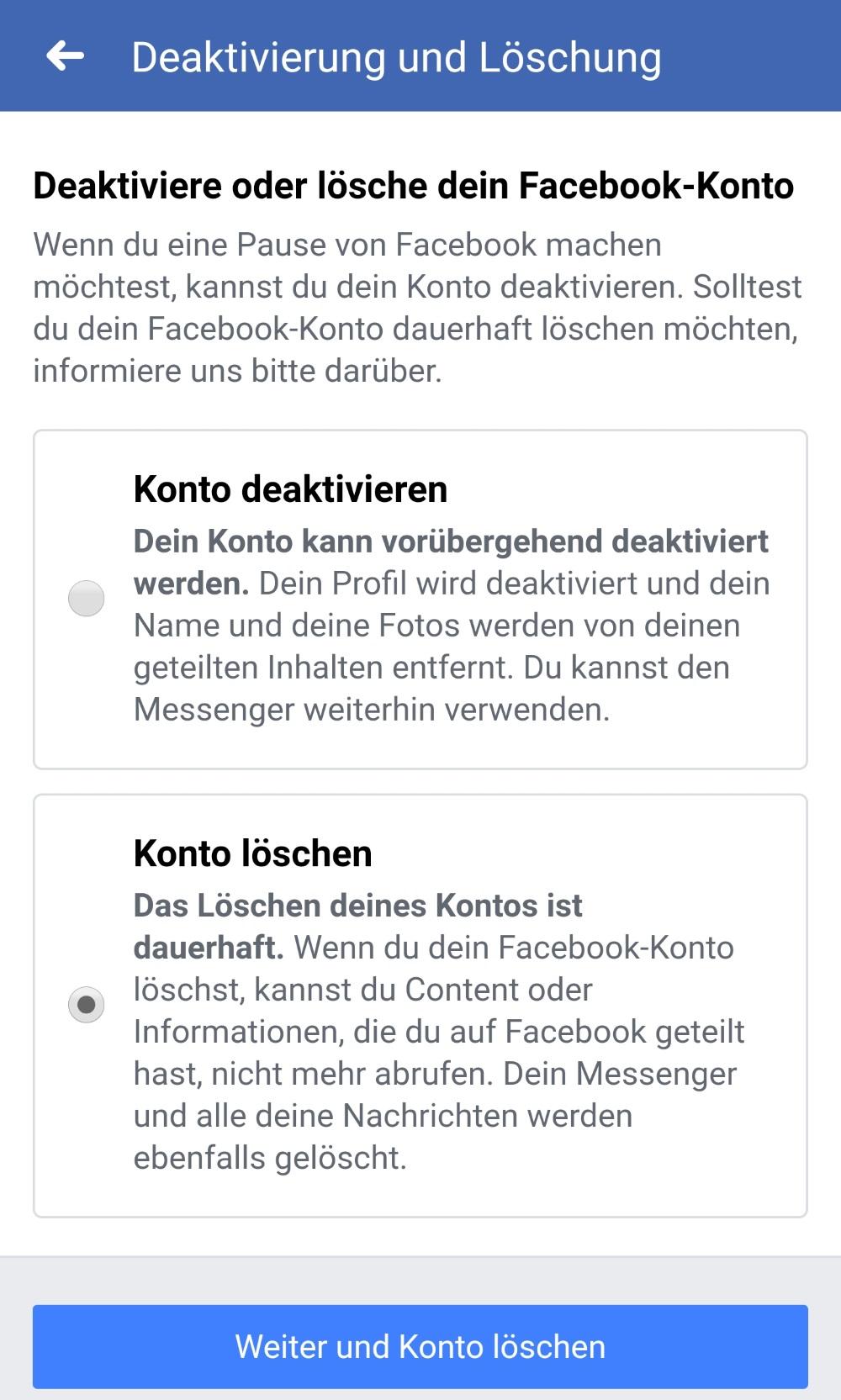 Facebook-Konto löschen Auswahl