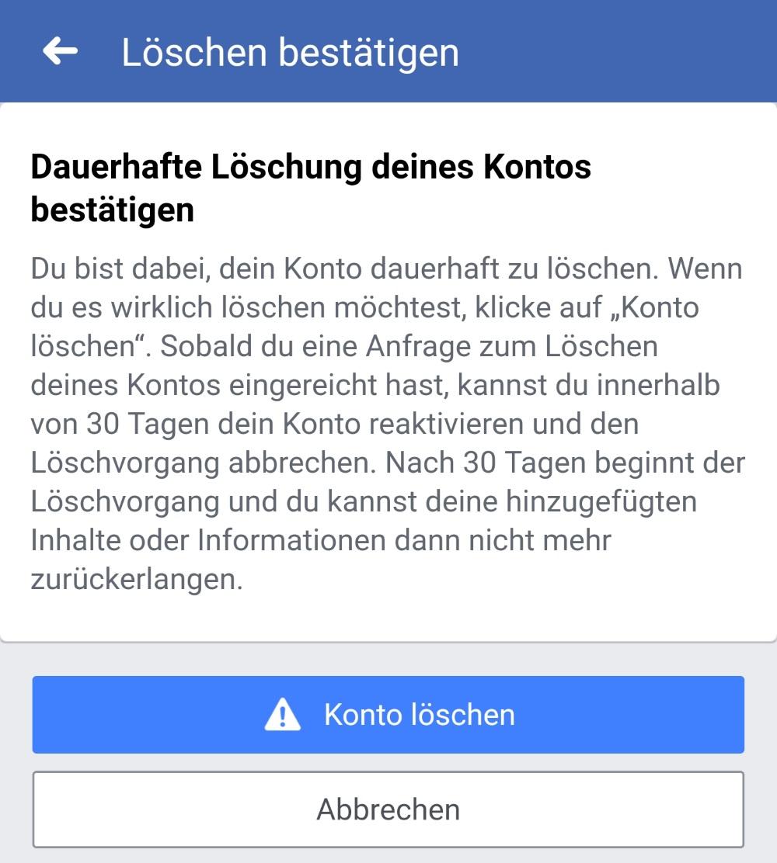 Facebook-Konto löschen