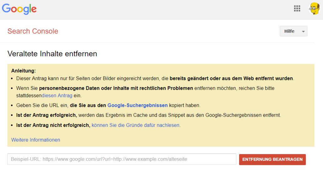 Google Cache löschen