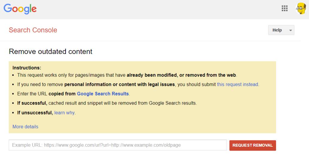 Delete Google Cache entry