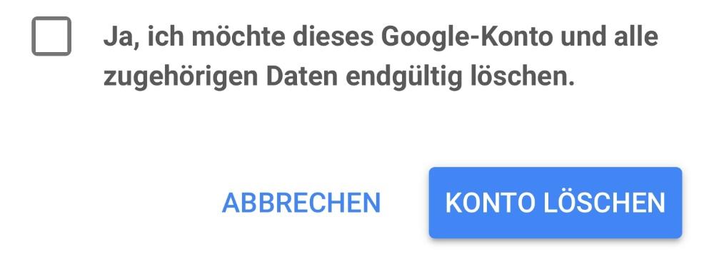 Bestätigung Google-Konto löschen