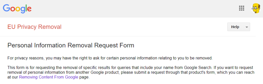 Delete Google search results