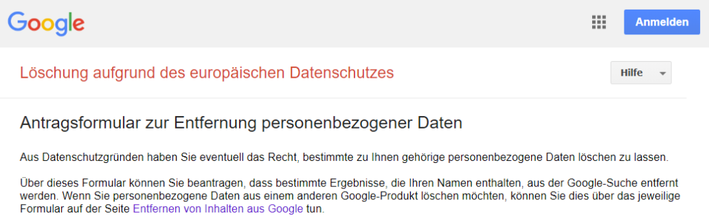 Google-Suchergebnisse löschen