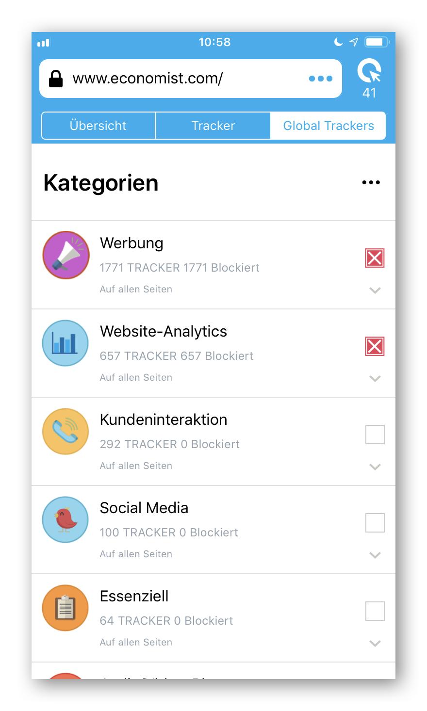 Cliqz für iOS Global Trackers