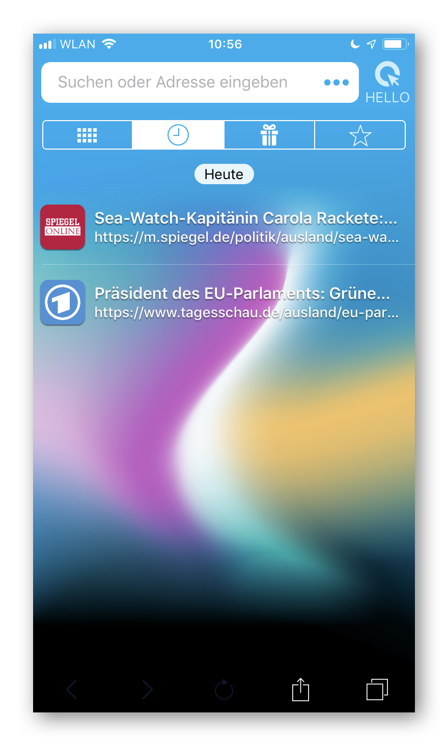 Cliqz für iOS Chronik