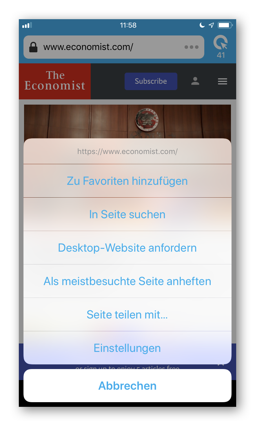 Cliqz für iOS Menü