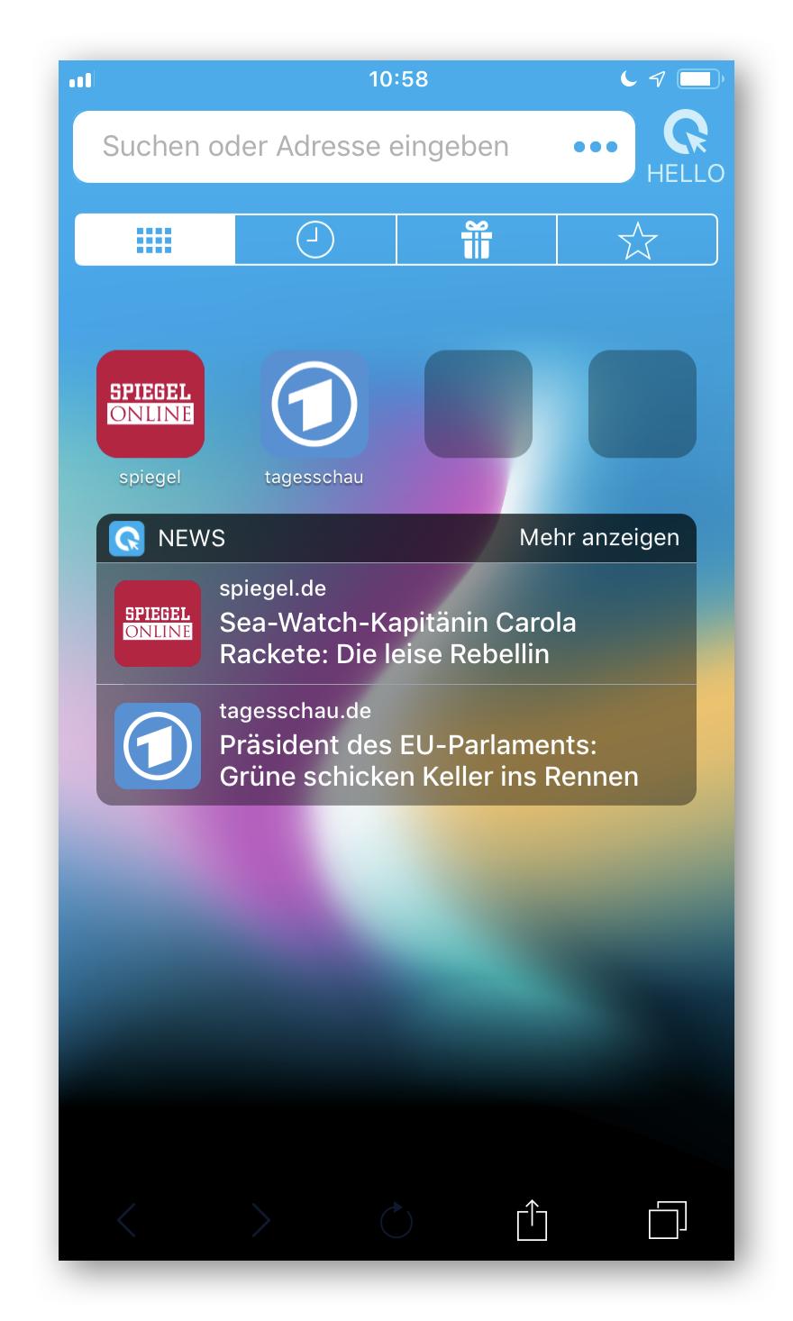 Cliqz für iOS Start Tab