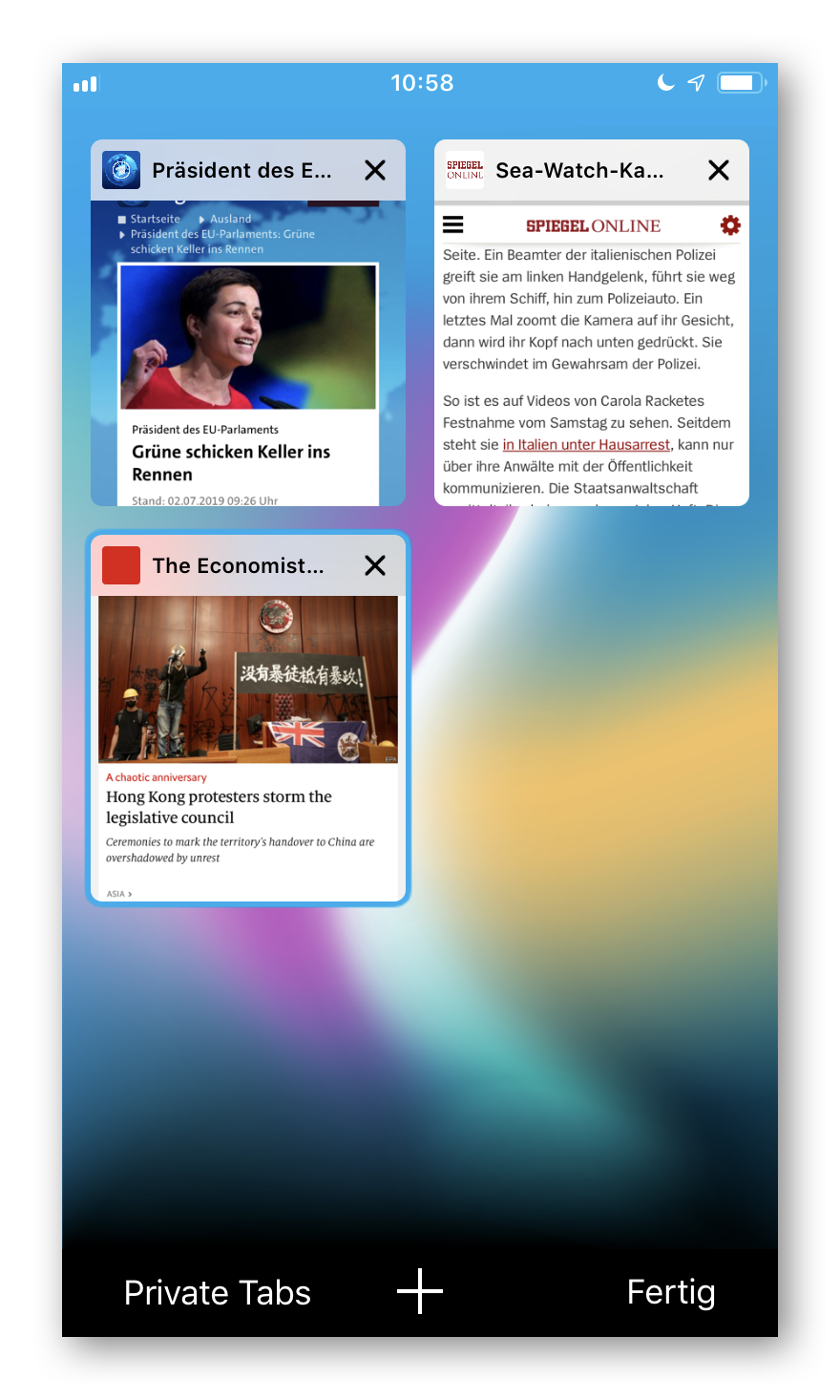 Cliqz für iOS Tab-Übersicht
