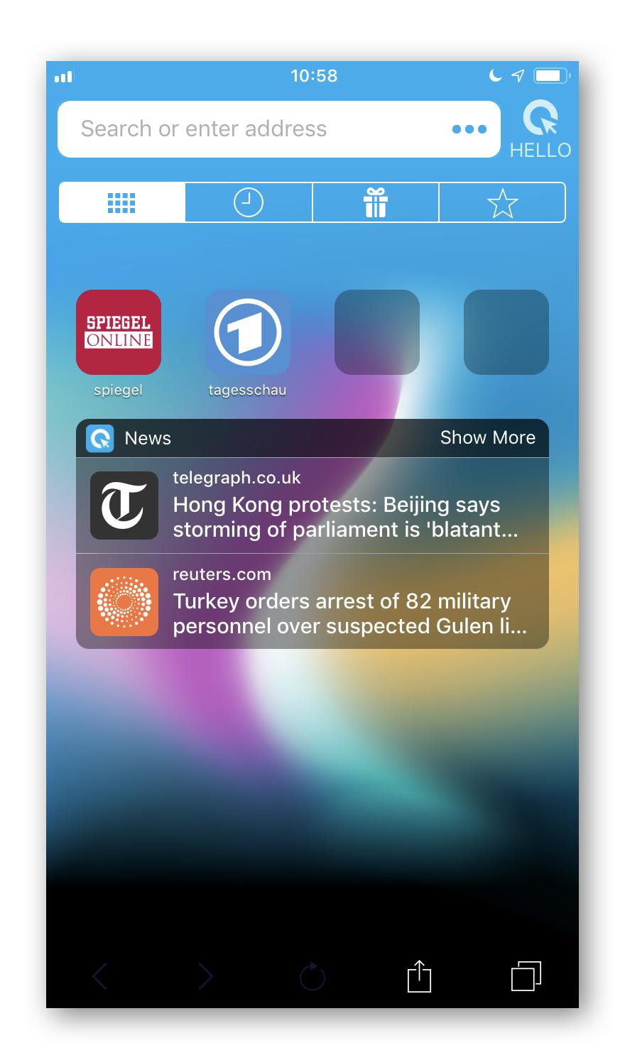 Cliqz for iOS Start Tab