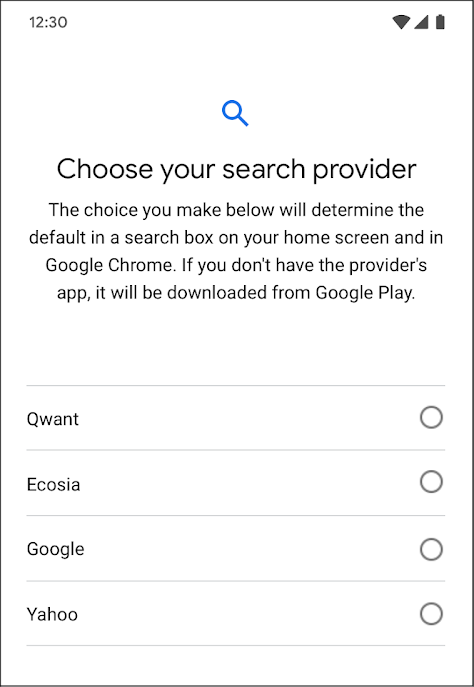 This is how the Android choice screen planned by Google will look like (Source: Google).