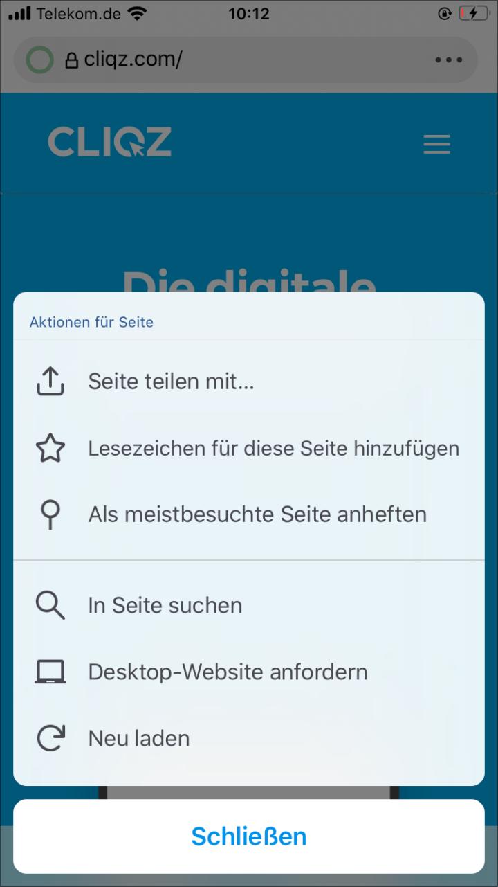 Seiten-Aktionsmenü von Cliqz