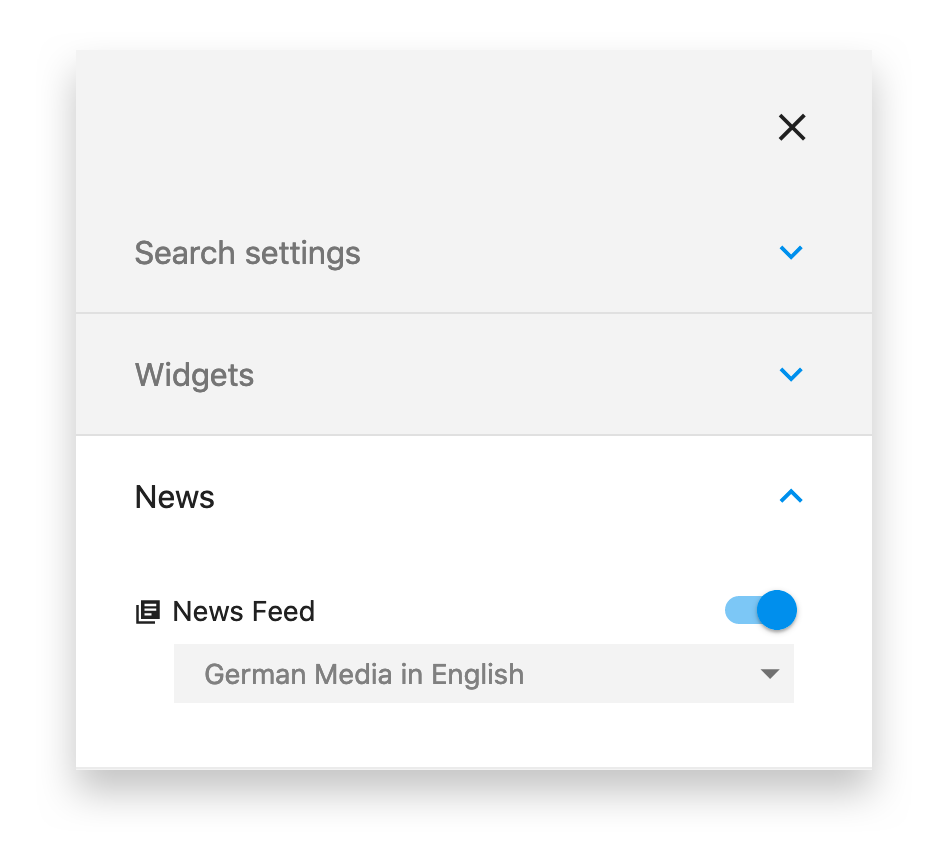 Cliqz Search Engine news settings: German Media in English