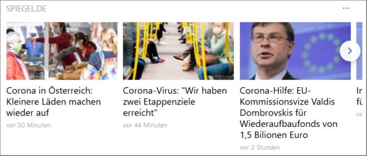 Abonnierte Nachrichtenquellen erscheinen zwischen den kuratierten Top News im News Feed auf der Cliqz-Startseite.