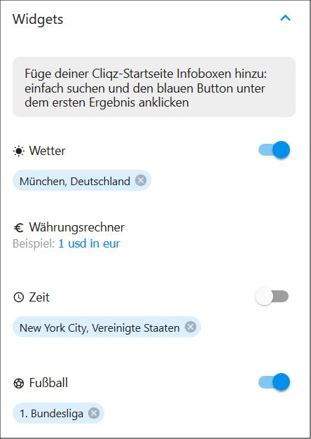 Suchmaschinen-Widgets