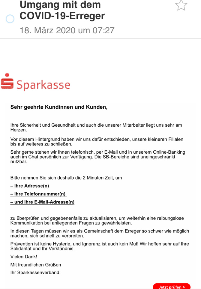 Diese E-Mail stammt von Betrügern, nicht von einer Sparkasse oder dem Sparkassenverband (Bild: Verbraucherzentrale).
