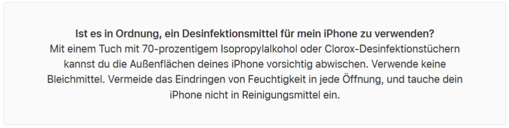 Apples ergänzender Reinigungshinweis für iPhones (Bild: Apple)